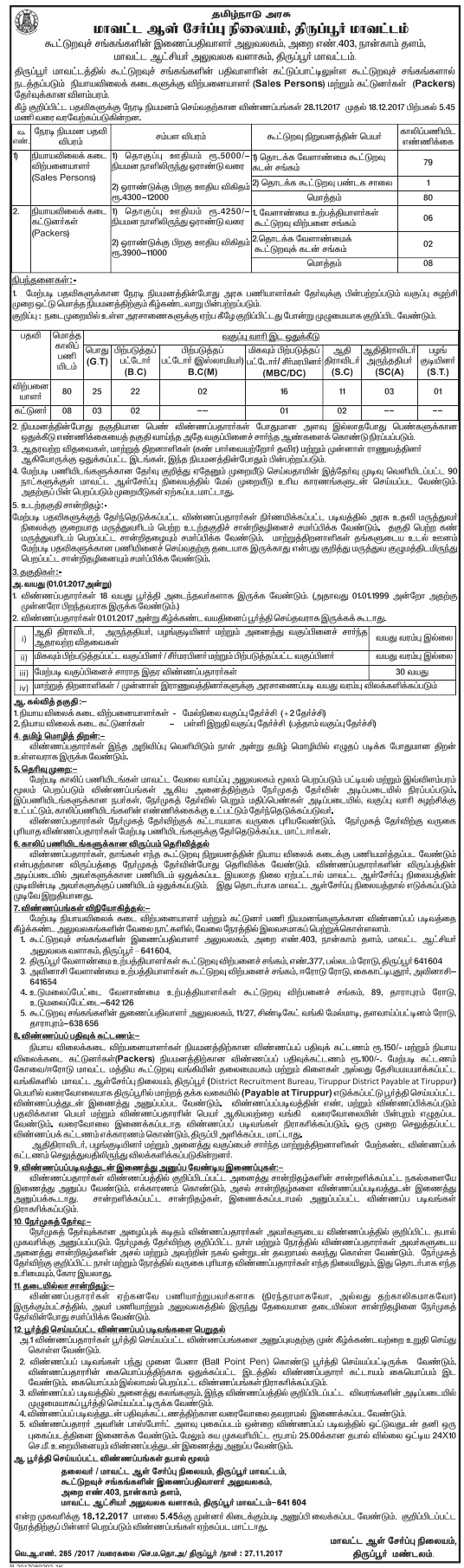Ration Shop Tiruppur Recruitment 2017-88 Sales Person, Packer Apply