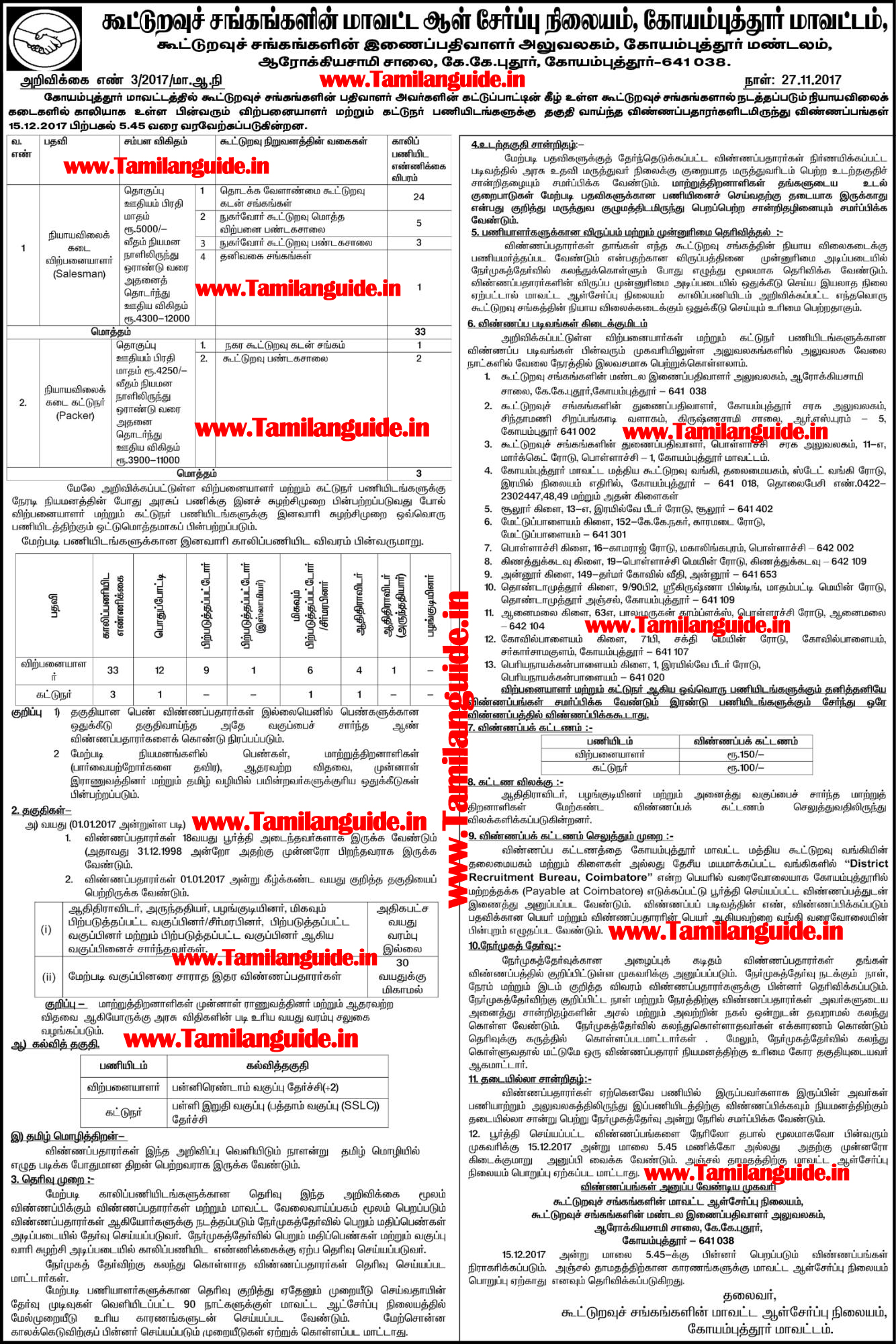 Coimbatore Ration Shop Recruitment 2017 36 Salesperson Posts