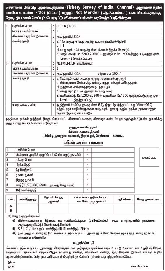 Fishery Survey Of India Chennai Recruitment 2018 03 Fitter Posts